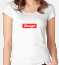 SAVAGE BOX LOGO - 21 Women's Fitted Scoop T-Shirt
