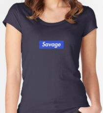 SAVAGE BOX LOGO BLUE/BLACK - 21 Women's Fitted Scoop T-Shirt