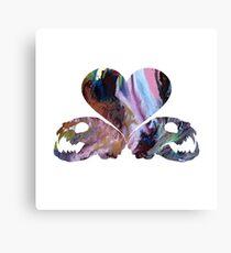 Heart and cat skulls Canvas Print