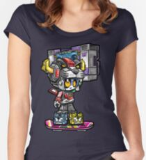 Pandatron with Boombox on Hoverboard Women's Fitted Scoop T-Shirt