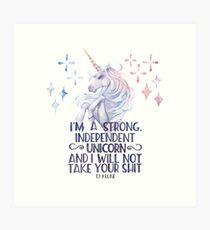 I am a strong independent unicorn - The lightning struck heart Art Print