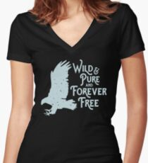Boho Wild and Pure and Forever Free Women's Fitted V-Neck T-Shirt