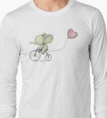 Netter Elefant, der sein Fahrrad reitet Langarmshirt