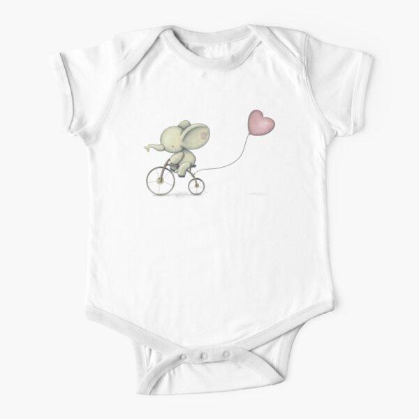 Cute Elephant riding his Bike Short Sleeve Baby One-Piece