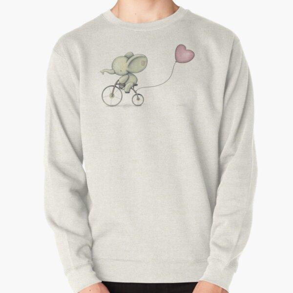 Cute Elephant riding his Bike Pullover Sweatshirt