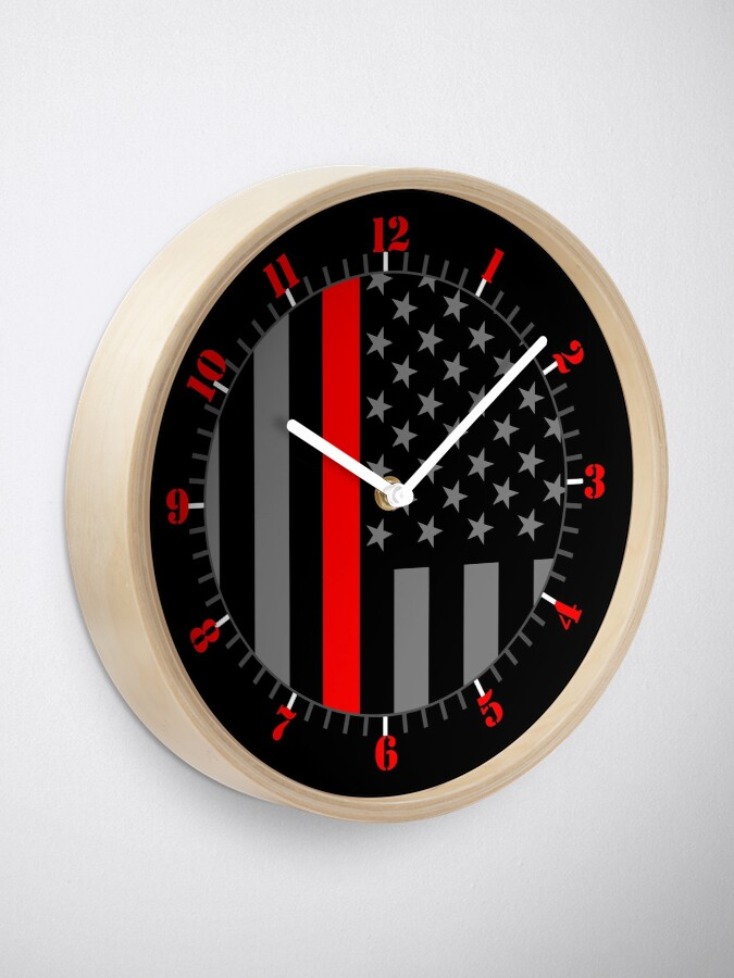 Alternate view of American Firefighter US Flag Clock