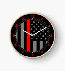 American Firefighter US Flag Clock