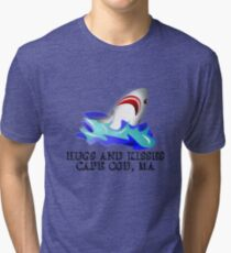 Great White Shark - Hugs and Kisses From Cape Cod, MA Tri-blend T-Shirt