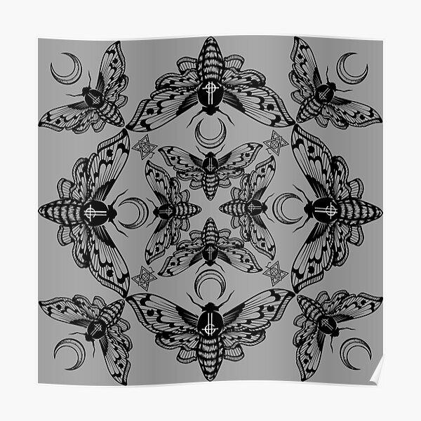 Ghost Cirice Moth Kaleidoscope Poster