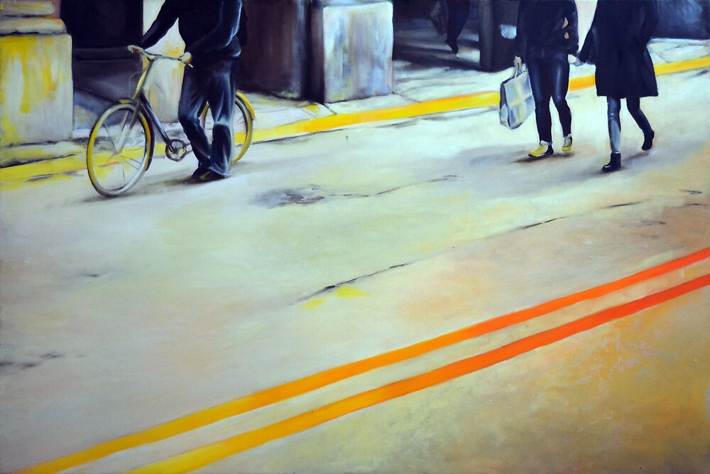 The yellow line, 2014, 120-80cm, oil on canvas by oanaunciuleanu