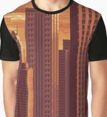 Pixel City at Sunset Graphic T-Shirt