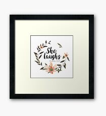 Christian Quote - She Laughs - Proverbs 31:25 Framed Print