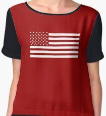 American Flag, White Stars Chiffon Top