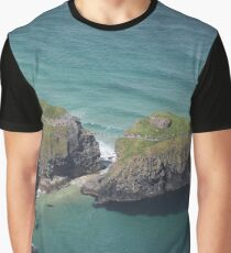 Carrick-a-Rede Rope Bridge From The Air Graphic T-Shirt