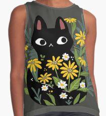Schwarze Katze mit Blumen Ärmelloses Top