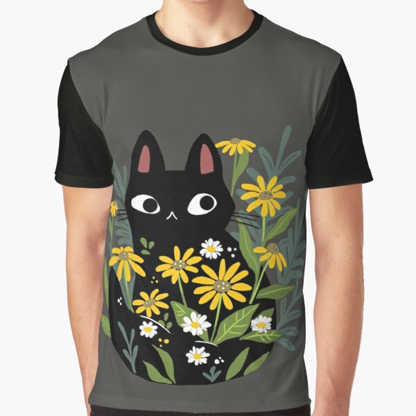 Black cat with flowers  Graphic T-Shirt