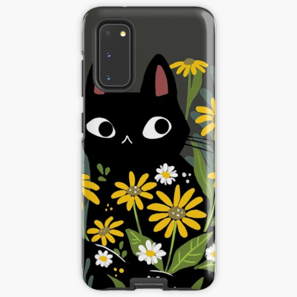 Black cat with flowers  Samsung Galaxy Tough Case
