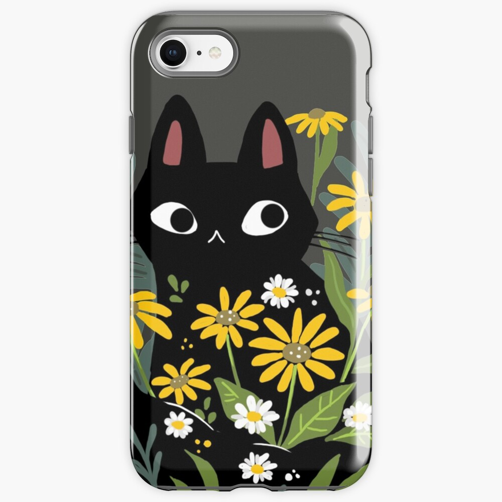 Black cat with flowers  iPhone Case & Cover