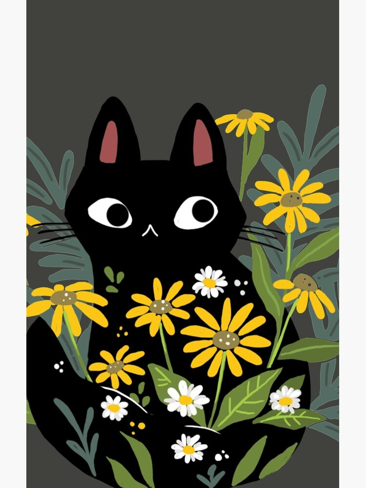 Black cat with flowers  by michelledraws