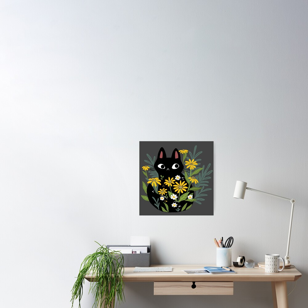 Black cat with flowers  Poster