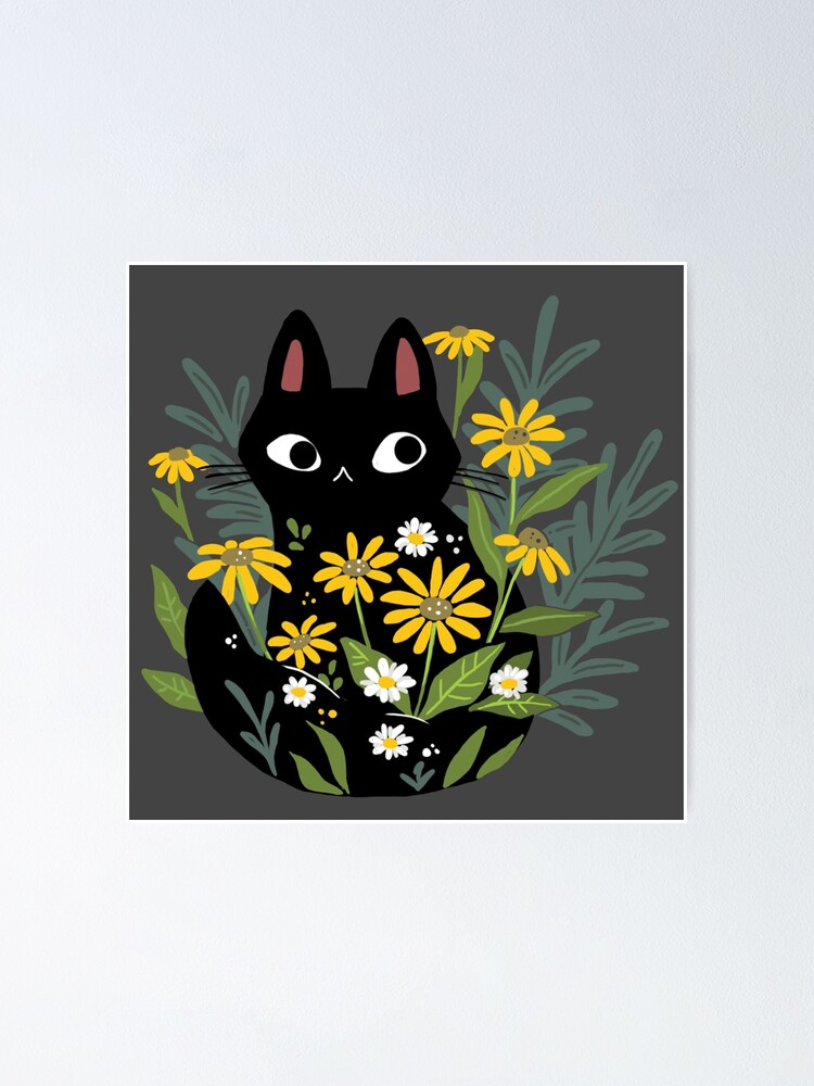 Alternate view of Black cat with flowers  Poster