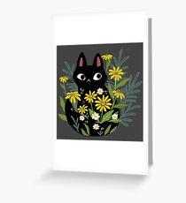 Tarjeta de felicitación Gato negro con flores