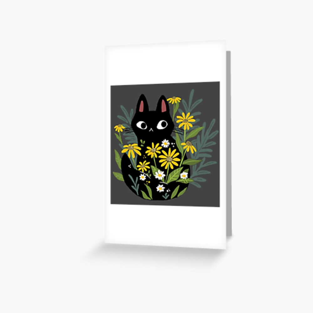 Black cat with flowers  Greeting Card