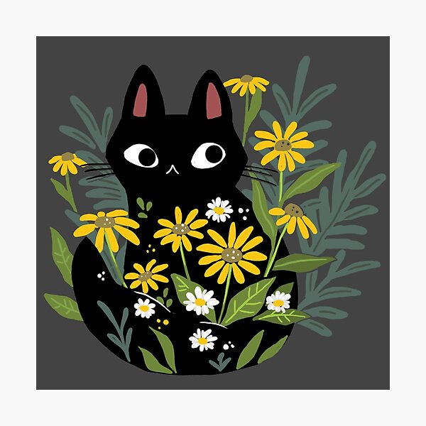 Black cat with flowers  Photographic Print