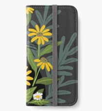 Black cat with flowers  iPhone Wallet/Case/Skin
