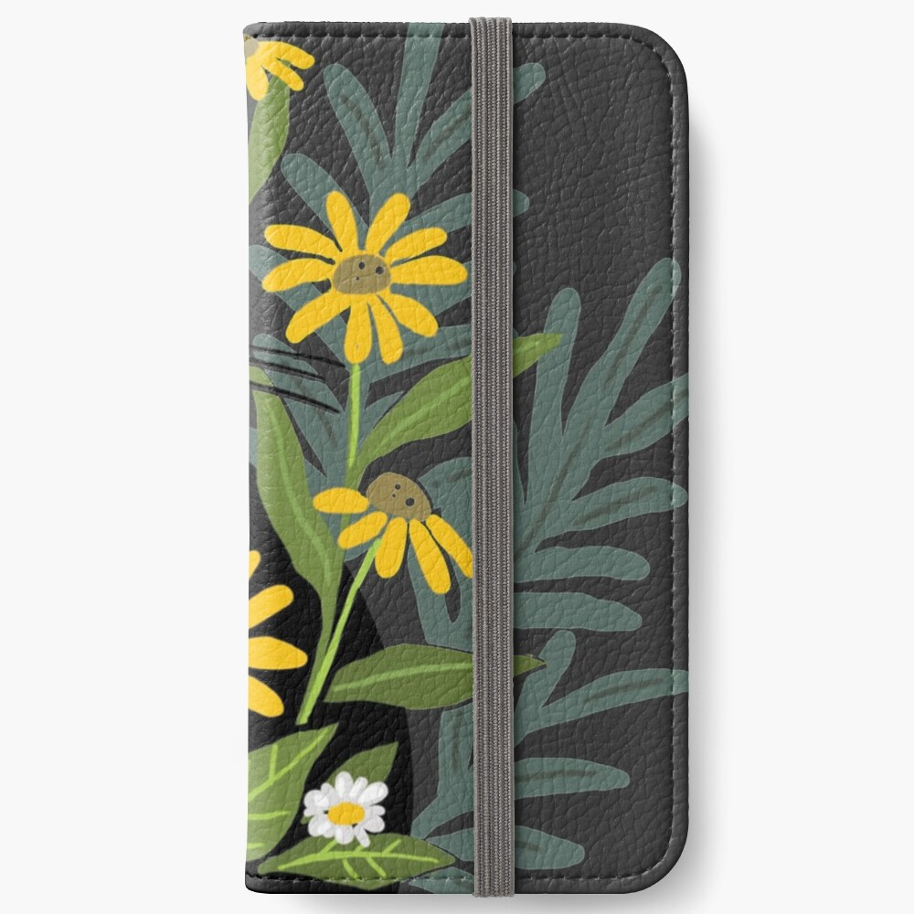 Black cat with flowers  iPhone Wallet
