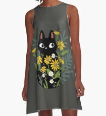 Black cat with flowers  A-Line Dress