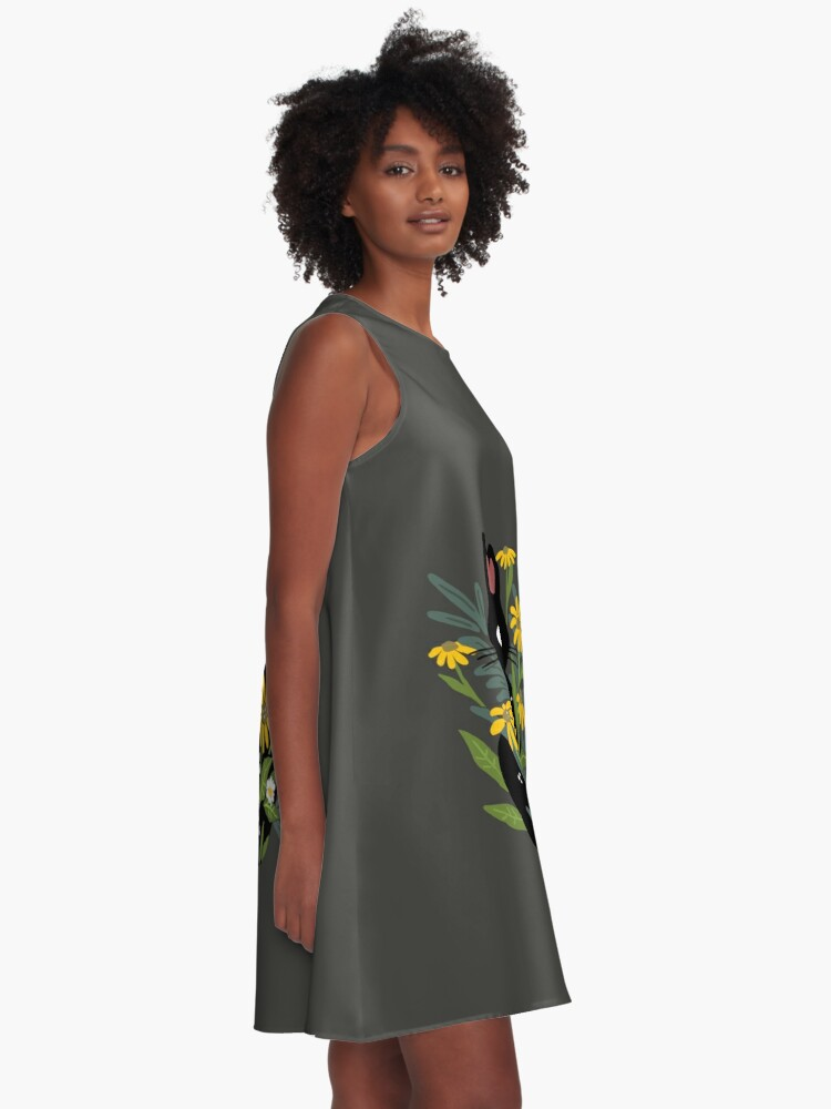 Alternate view of Black cat with flowers  A-Line Dress