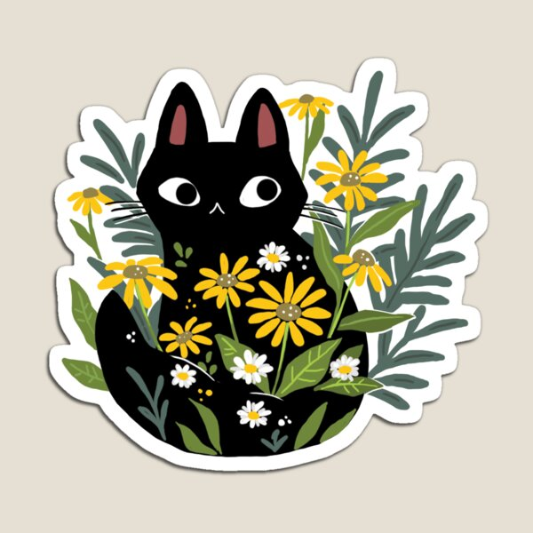 Black cat with flowers  Magnet
