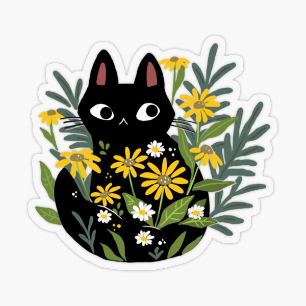 Black cat with flowers  Transparent Sticker