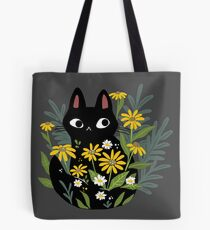 Black cat with flowers  Tote Bag