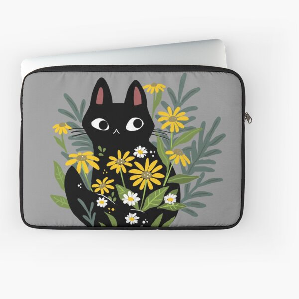 Gato negro con flores Funda para portátil