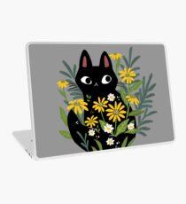 Vinilo para portátil Gato negro con flores