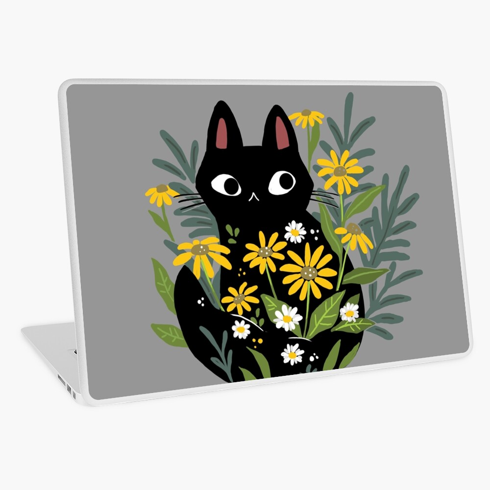 Black cat with flowers  Laptop Skin