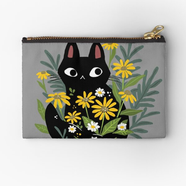 Black cat with flowers  Zipper Pouch