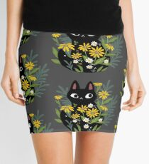 Black cat with flowers  Mini Skirt