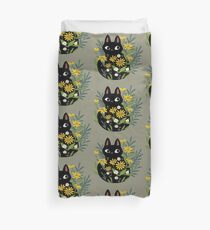 Black cat with flowers  Duvet Cover