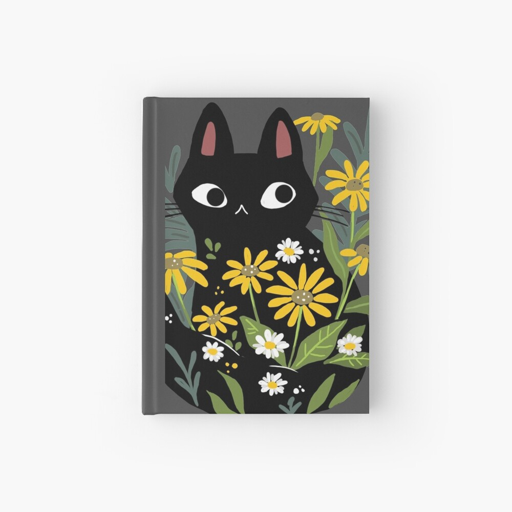 Black cat with flowers  Hardcover Journal