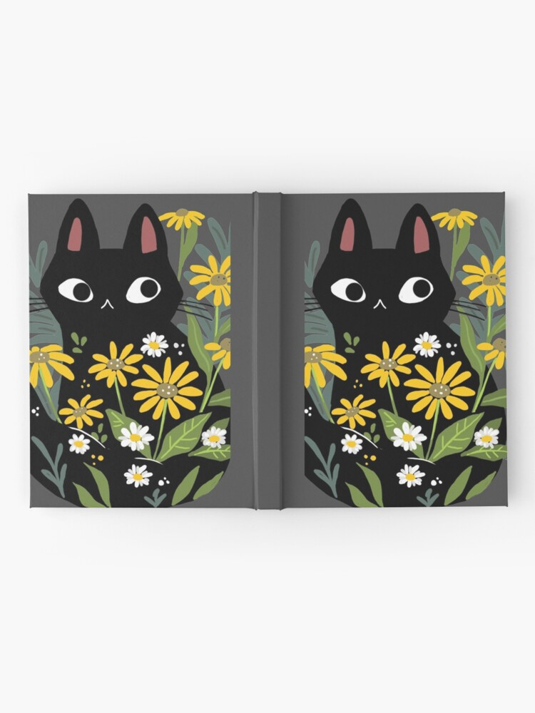 Alternate view of Black cat with flowers  Hardcover Journal
