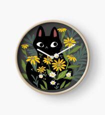 Reloj Gato negro con flores