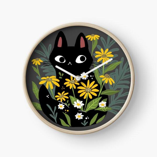 Black cat with flowers  Clock
