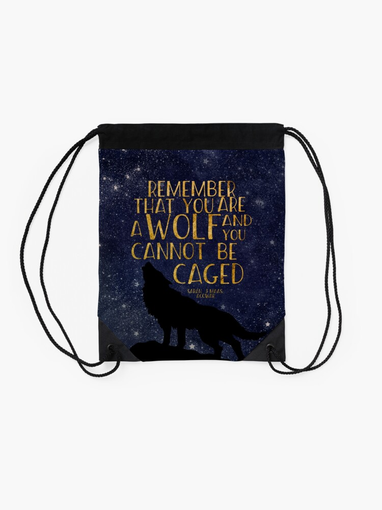 Alternate view of Remember that you are a wolf and you cannot be caged Drawstring Bag