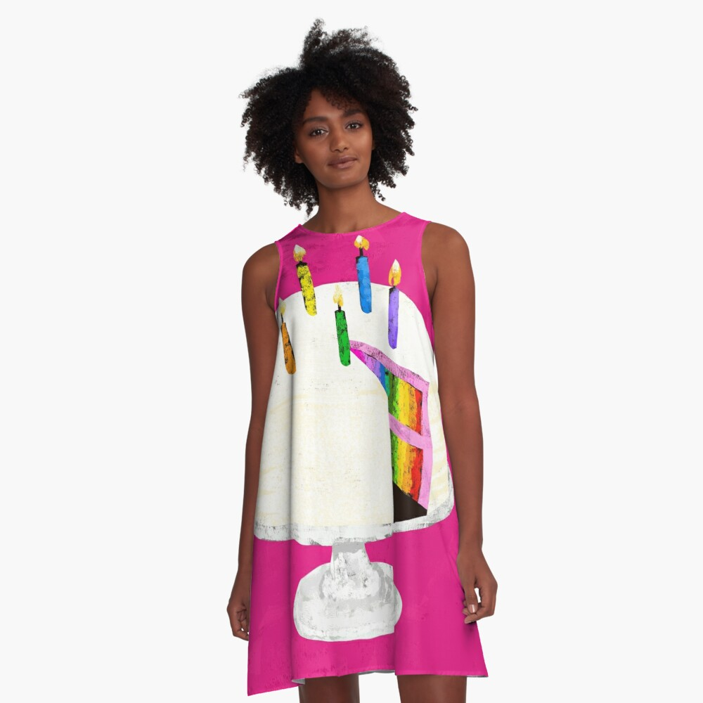 Rainbow Birthday Cake A-Line Dress