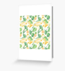 Tropical trendy seamless pattern with flamingos, pineapples and palm leaves Greeting Card