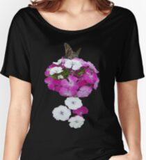 Pink and White Flowers Butterfly Women's Relaxed Fit T-Shirt