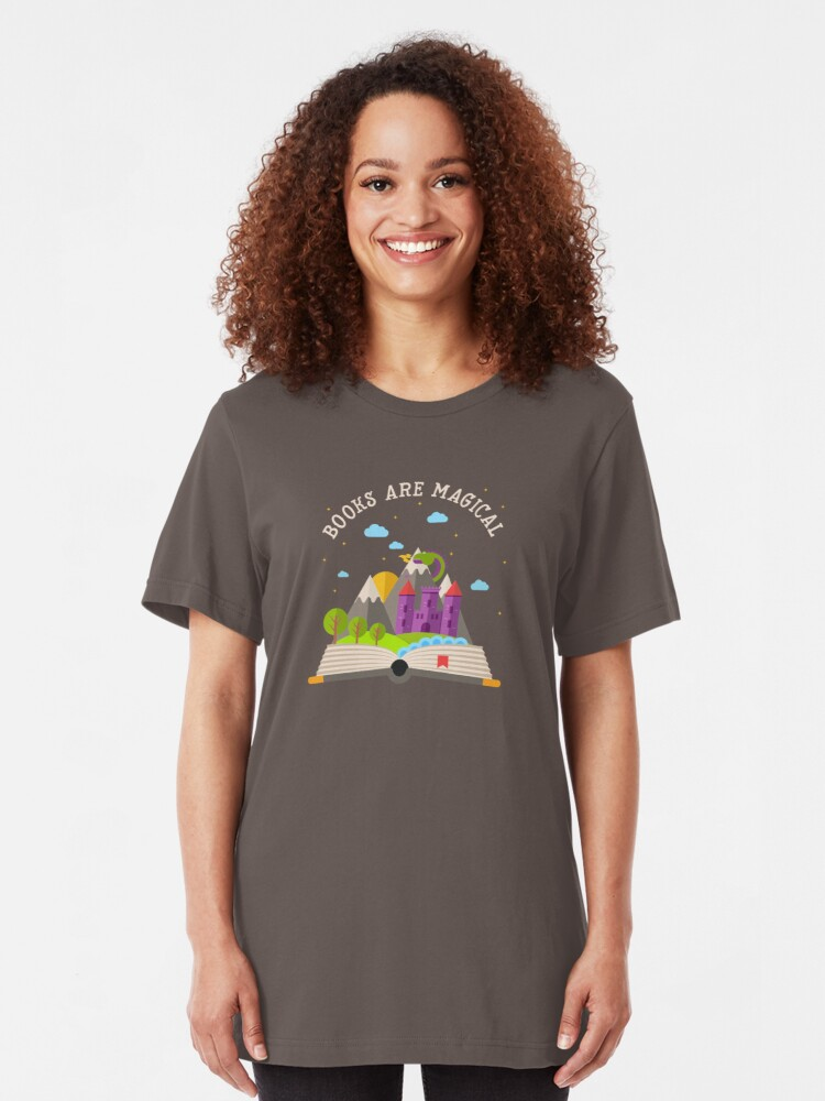 Alternate view of Books are magical Slim Fit T-Shirt